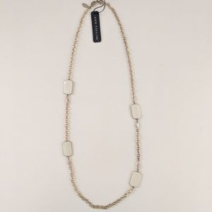 Ann Taylor White/Cream Rectangle Necklace - NWT